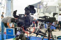 Radioutsändning och inspelning med den digitala kameran Arkivbilder
