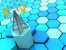 Radiowaves and antenna. 3d illustration of antenna over abstract hexagons background stock illustration