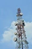 Radiowej anteny ampuła i satelita Zdjęcia Royalty Free
