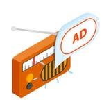 Radiowej reklamy ikona, isometric 3d styl ilustracja wektor