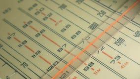 Radiowijzerplaat, die naar posten zoeken De correcte oude radio stock videobeelden