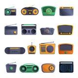 Radiowy ikona set, kreskówka styl ilustracji
