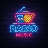 Radiowy Muzyczny Neonowy loga wektor Radiowej nocy neonowy znak, projekta szablon, nowożytny trendu projekt, Radiowy neonowy sign Royalty Ilustracja