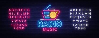 Radiowy Muzyczny Neonowy loga wektor Radiowej nocy neonowy znak, projekta szablon, nowożytny trendu projekt, Radiowy neonowy sign Ilustracja Wektor