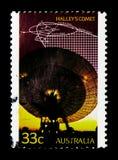 Radiowy teleskop, orbita Halley, s kometa «, seria, około 1986 zdjęcie royalty free