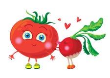 Radis dans l'amour avec la tomate Positionnement du travail du vecteur characters Image libre de droits