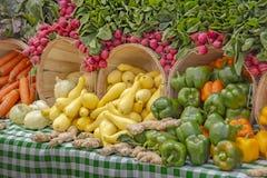Radis montrés sur des paniers remplis de courge jaune, d'oignons, de gingembre et de vérité des poivrons colorés photos libres de droits