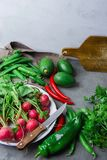 Radis rouge d'herbes organiques fraîches de légumes en poivron de pois de persil d'avocats de plat d'émail Chili Peppers chaud su Photos stock