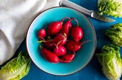 Radis rouges de radis écologiques de couleur rouge intense Plan rapproché d'en haut Préparez pour la salade avec de la laitue photographie stock