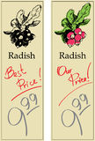 Radish. Two Price Tags with Vintage Effect Stock Photo