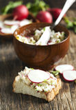 Radish butter. Fresh Radish butter on toast Royalty Free Stock Images