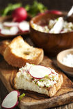 Radish butter. Fresh Radish butter on toast Royalty Free Stock Photography