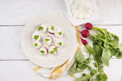 Radish  canape with grain cheese on white wooden table. Top view,copy space Royalty Free Stock Photo