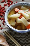 Radish and carrot soup Stock Image