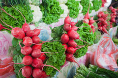 Radish and cauliflower on the market. Royalty Free Stock Photos
