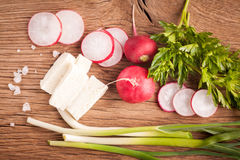 Radish, cheese and onion Royalty Free Stock Photo