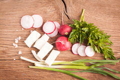 Radish, cheese and onion Royalty Free Stock Image