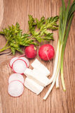 Radish, cheese and onion. Radish, sheese and onion on old wooden table. Rustic style. Vegetarian food Royalty Free Stock Photos