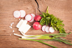 Radish, cheese and onion Royalty Free Stock Images