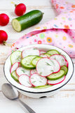 Radish and cucumber salad. In a white bowl Royalty Free Stock Photography