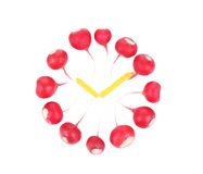 Radish dial with lemon hour hands. Royalty Free Stock Photography