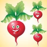 Radish face expression cartoon character set Royalty Free Stock Images