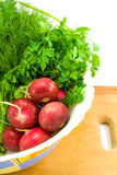 Radish and greenery Stock Photos