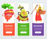Radish, pear, banana banners set, funny fruits and vegetables characters cartoon vector elements for website or mobile. App with sample text Royalty Free Stock Photo