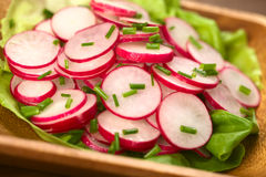 Radish Salad with Chives. Fresh radish salad with chives served on a lettuce leaf on a wooden bowl (Selective Focus, Focus in the middle of the photo Royalty Free Stock Photo