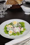 Radish salad with cucumber and eggs for milk sauce Stock Photo