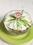 Radish salad with green onions, cheese, cottage cheese and cream Royalty Free Stock Photo