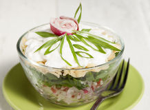 Radish salad with green onions, cheese, cottage cheese and cream. In a salad bowl on a green plate Stock Image