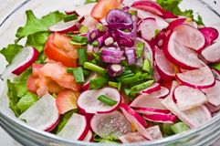 Radish Salad. Ingredients for a Radish Salad in a glass bowl, just before being mixed together (radishes, lettuce, tomatoes, red onion, green onion, olive oil stock photo