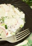Radish salad with mayonnaise. Easy appetizer salad Stock Photo