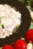 Radish salad with mayonnaise. Easy appetizer salad Royalty Free Stock Photography