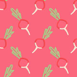 Radish Seamless Pattern Kid's Style Hand Drawn Stock Photography