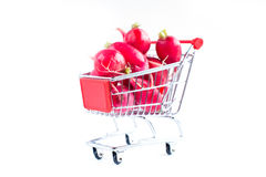 Radish in shopping cart Stock Photography