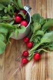 Radish on table. Top view. Fresh Organic Radish on table, rustic style, selective focus Royalty Free Stock Photos