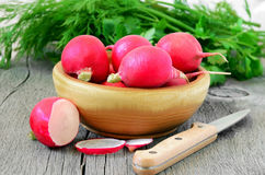 Radish on wooden table Royalty Free Stock Image