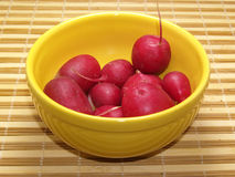 Radishes. Fresh radishes in bowl of yellow earthenware Royalty Free Stock Image