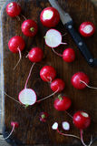 Radishes on a cutting board. Top view Stock Photography