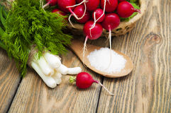 Radishes. Fresh radishes in a basket with green onions and salt on a wooden background Stock Image