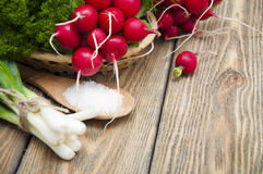Radishes. Fresh radishes in a basket with green onions and salt on a wooden background Stock Photo