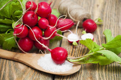 Radishes. Fresh radishes with leaves on a wooden table Royalty Free Stock Photo