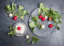 Radishes with green haulm leaves an grain cheese on dark rustic background, top view Stock Photo
