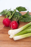 Radishes and green onions washed and placed on a wooden board.  Stock Image