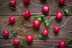 Radishes and greens. At the table fresh and healthy food Stock Images