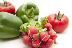 Radishes and paprikas Royalty Free Stock Photo