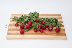 Radishes prepared for cleaning and cutting.  Royalty Free Stock Images