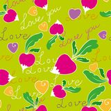 Radishes seamless. Pattern of radish, hearts and words of love Royalty Free Stock Photo
